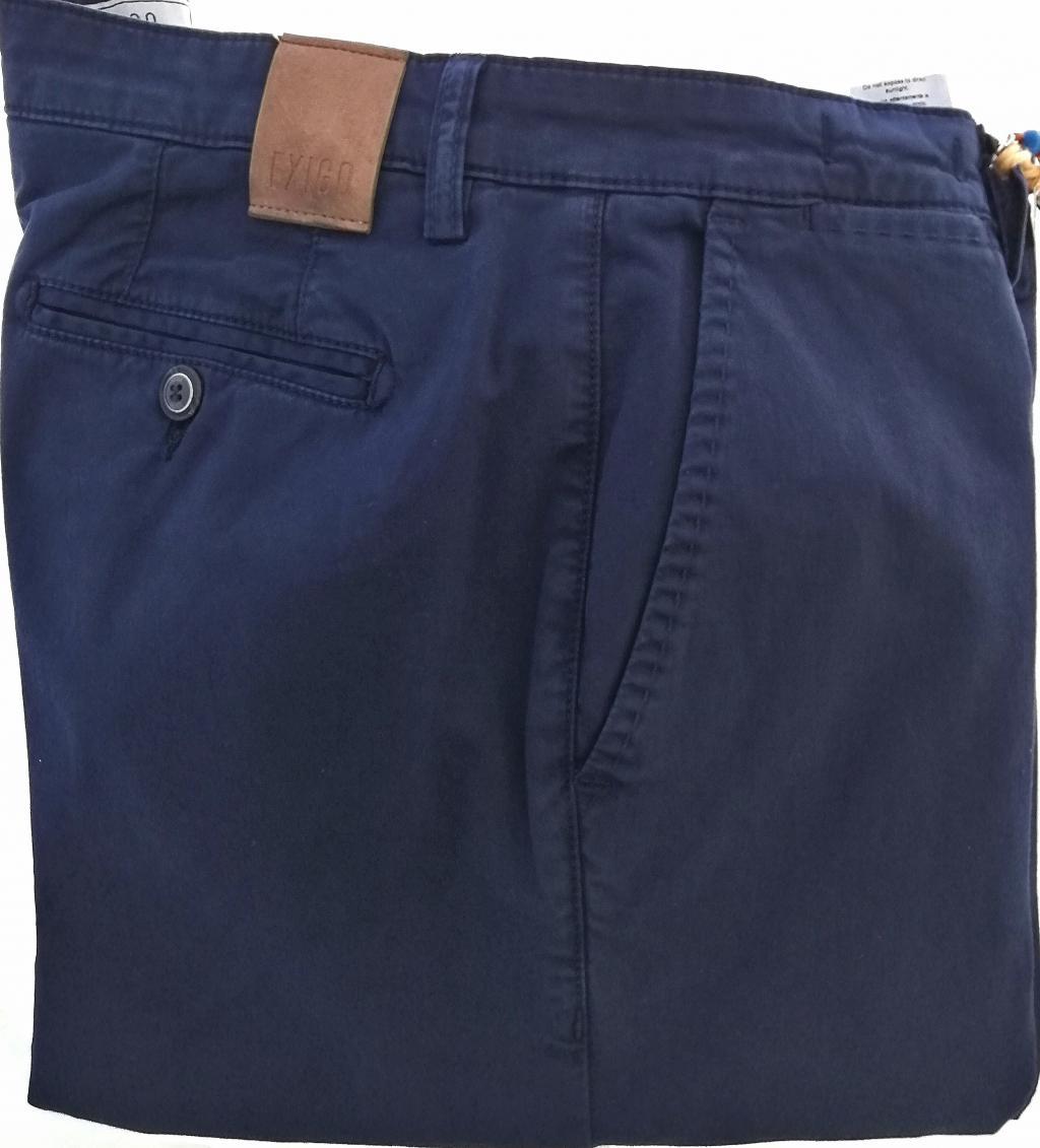 Pantalone uomo in cotone elasticizzato vestibilità regolare, colore blu navy