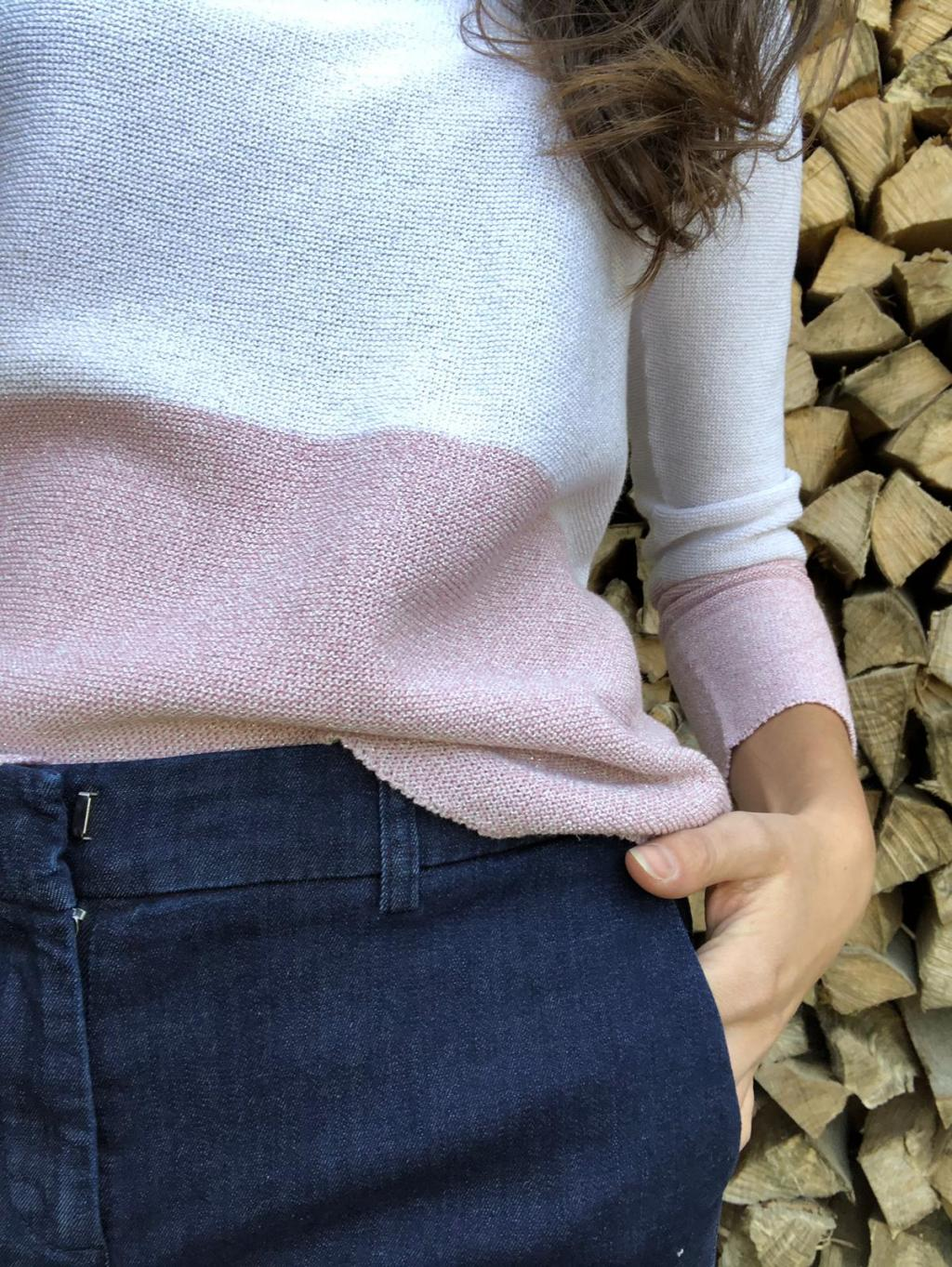 Maglia mod. S. 2115136, donna in cotone. Scollo a barchetta, bicolore.